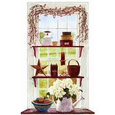 Portfolio II Rose Hip Swag Trompe D'Oiel Window Accent Wall Mural