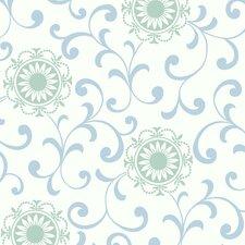 Silhouettes Daisy Medallion Scroll Wallpaper