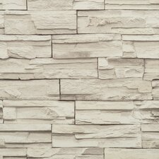 Modern Rustic Travertine Trompe L'oeil Wallpaper