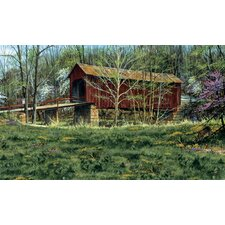 Portfolio II Rustic Covered Bridge Surrounded by the First Buds of Spring Wall Mural
