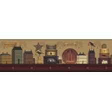 Mural Portfolio II Shelf Painted with Folk Art Scenic Border Wallpaper