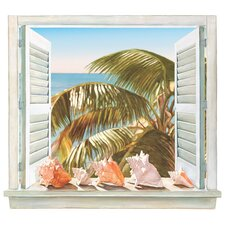 Portfolio II Trompe L'Oiel Palm Tree and Shell Window Accent Wall Mural