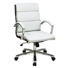 Mid-Back Leather Executive Office Chair Padded Arms and Base