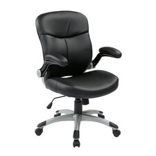 Mid Back Eco Leather Executive Chair with Adjustable Padded Flip Arms