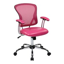 "Ave Six 17.5"" Mesh Peyton Task Chair with Faux Leather Seat"