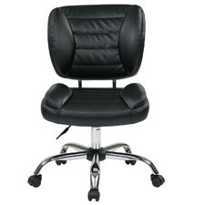 <strong>Office Star Products</strong> Faux Leather Armless Task Chair with Chrome Accents