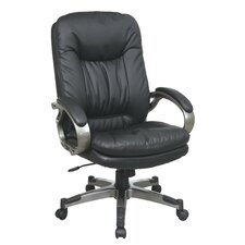 High-Back Leather Executive Chair with Padded Arms