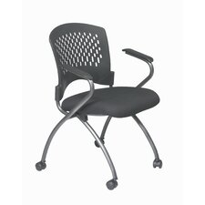 <strong>Office Star Products</strong> ProLine II Deluxe Folding Chair with Plastic Back and Arms in Titanium (2-Pack)