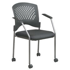 Titanium Finish Rolling Visitor's Chair With Casters, Arms, And Plastic Wrap Around Back