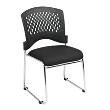 isitors Chair with Plastic Back Fabric Seat (Set of 2)