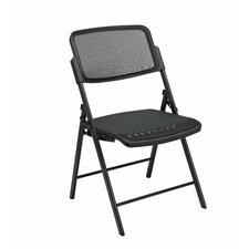 Deluxe Folding Chair With ProGrid Seat and Back (2-Pack), Gangable, Beige, Black or Silver