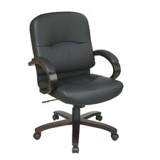 Mid-Back Eco Leather Chair with Padded Arms