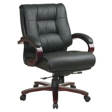 <strong>Office Star Products</strong> Deluxe Mid-Back Leather Executive Chair with Arms