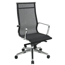Deluxe Mesh Back and Seat High-Back Managerial Chair with Polished Aluminum Arms and Base