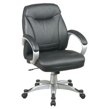 Back Leather Faux DeluxeOffice Chair with Coated Frame and Padded Arms