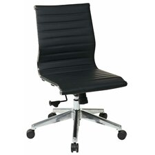 Mid-Back Eco Leather Armless Office Chair