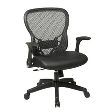 <strong>Office Star Products</strong> Deluxe R2 SpaceGrid® Back Leather Seat Chair with Flip Arms and Nylon Base