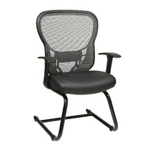<strong>Office Star Products</strong> Deluxe R2 SpaceGrid® Back Leather Seat Visitors Chair with Fixed Arms