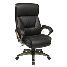 "<strong>Office Star Products</strong> 28"" Executive Eco Leather Chair with Spring Seat and Padded Arms and Base"