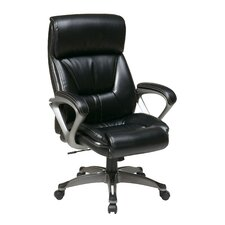"28"" Executive Eco Leather Chair with Spring Seat and Padded Arms and Base"