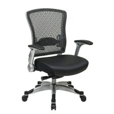 R2 SpaceGrid Back Eco Leather Office Chair with Flib Arms