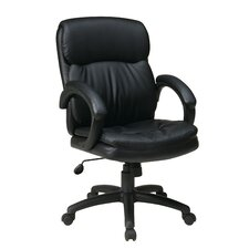 <strong>Office Star Products</strong> Mid-Back Eco Leather Executive Office Chair with Padded Arms
