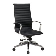 Hi-Back Eco Leather Deluxe Office Chair with Polished Aluminum Arms and Base