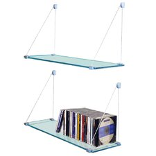 Pair of Glass Suspension Storage / Display Shelves
