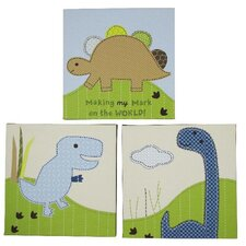 Jill McDonald 3 Pieces Adorable Dino Wood Frame Wall Art