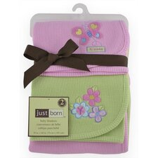 Just Born Thermal Blanket in Pink Butterfly and Sage Flower (Set of 2)