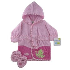 <strong>Triboro</strong> Just Born Frog Woven Terry Robe and Bootie Set