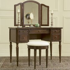 <strong>Powell Furniture</strong> Warm Cherry Vanity Set with Mirror
