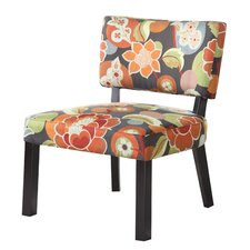 Bright Floral Print Fabric Slipper Chair