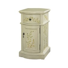 White Chairside 1 Drawer Cabinet