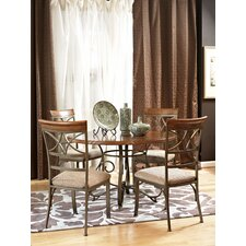 Cafe Hamilton 5 Piece Dining Set in Matte Pewter and Bronze