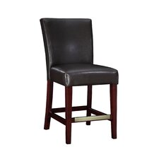 Cafe Bonded Leather Counter Stool in Brown