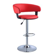 Faux Leather Adjustable Height Bar Stool in Red