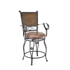 Big and Tall Copper Stamped Back Bar Stool with Arms