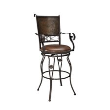 "Big and Tall 30"" Stamped Back Swivel Bar Stool with Cushion"