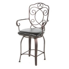 Cafe Scroll Back Counter Stool in Distressed Bronze