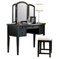 Antique Black Vanity Set with Mirror
