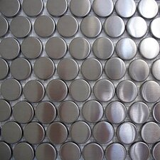 "Metal 11.88"" x 11"" Mosaic in Metal with Round Circles"
