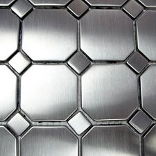 "Metal 11.63""  x 11.63"" Mosaic with Octagons & Dots"