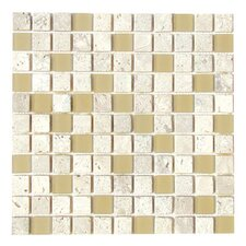 "Travertine Glass 12"" x 12"" Mosaic in Classic Sand"