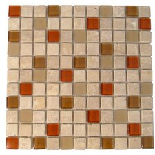 "Travertine Glass 12"" x 12"" Mosaic in Auburn"