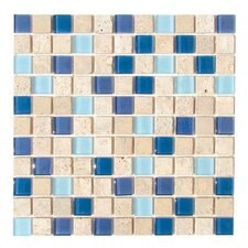 "Travertine Glass 12"" x 12"" Mosaic in Lagoon"
