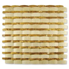 "Contours 12"" x 12"" Rome Interlocking Wave Split-Face Mosaic in Crema Marfil/Gold Travertine"