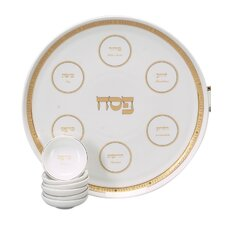<strong>Israel Giftware Design</strong> Traditional Porcelain Seder Plate in Gold
