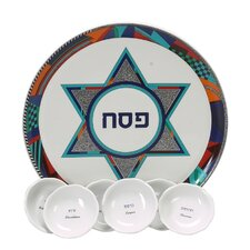 <strong>Israel Giftware Design</strong> Colorful Star of David Porcelain Seder Plate
