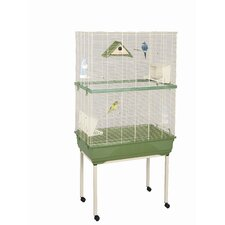 Woodline Kira Wood Canary Cage and Stand in Beige